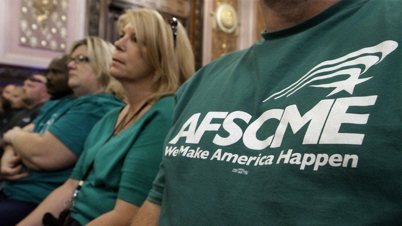 Close up of AFSCME member t-shirt at union meeting