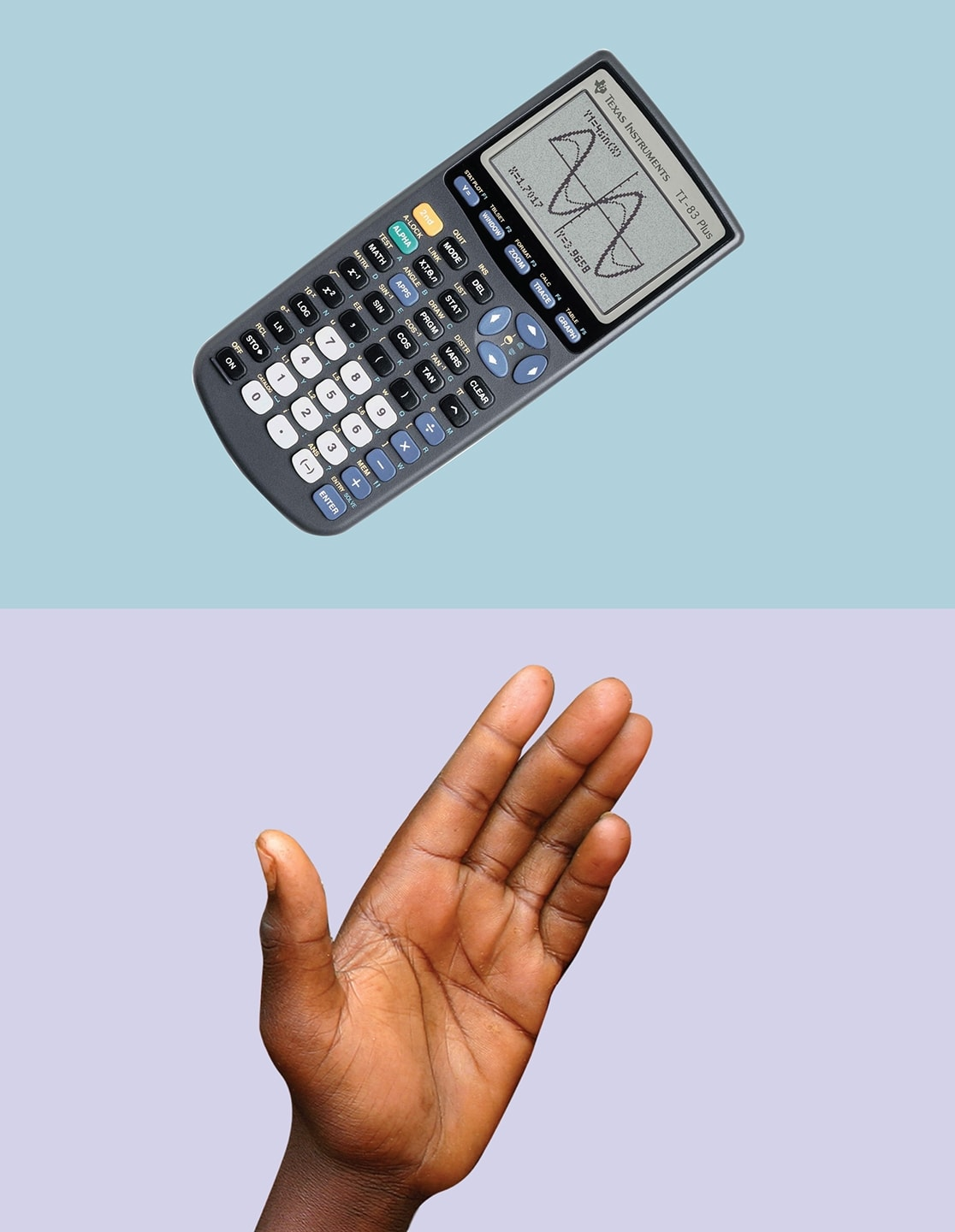 hand and calculator over solid colored backgrounds