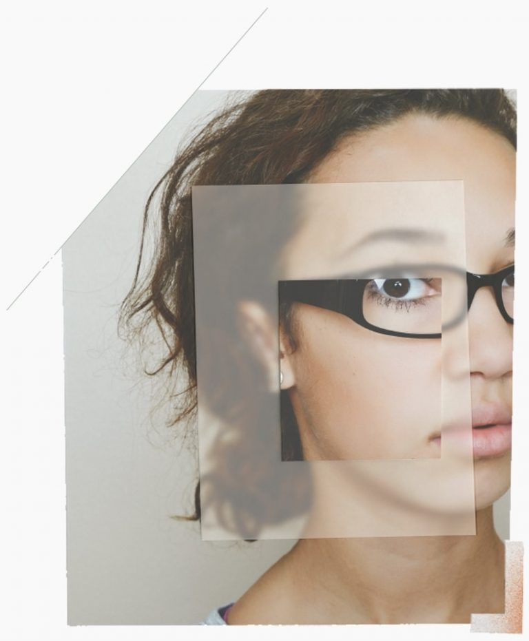 student girl with focus on glasses